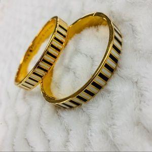 2 Kate Spade Black White Striped Gold Bracelets